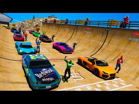 Carros Legais com Homem Aranha e Heróis! Сhallenge Spiderman Cool Cars on Ramp - GTA 5 MODS