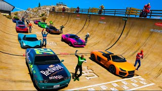Carros Legais com Homem Aranha e Heróis! Сhallenge Spiderman Cool Cars on Ramp - GTA 5 MODS