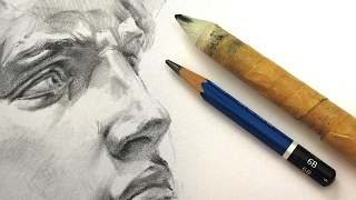Drawing the Face of David with Pencil and Blending Stump