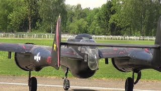 MONSTER RC SCALE AIRPLANE NORTHROP P-61 BLACK WIDOW TWO 3-CYLINDER RADIAL ENGINE