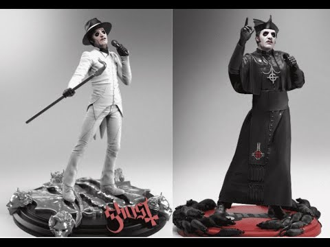 Two new Ghost statues, Cardinal Copia Black Cassock and Cardinal Copia White Tuxedo Rock Icon