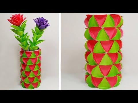 How to Make Flower Vase with Paper | DIY Making Paper Flower Vase | Abigail Paper Crafts