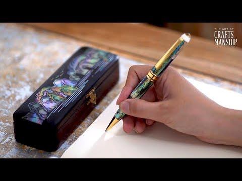 Pearl Shell Mosaic on Wooden Pen Box crafts - See It Yourself