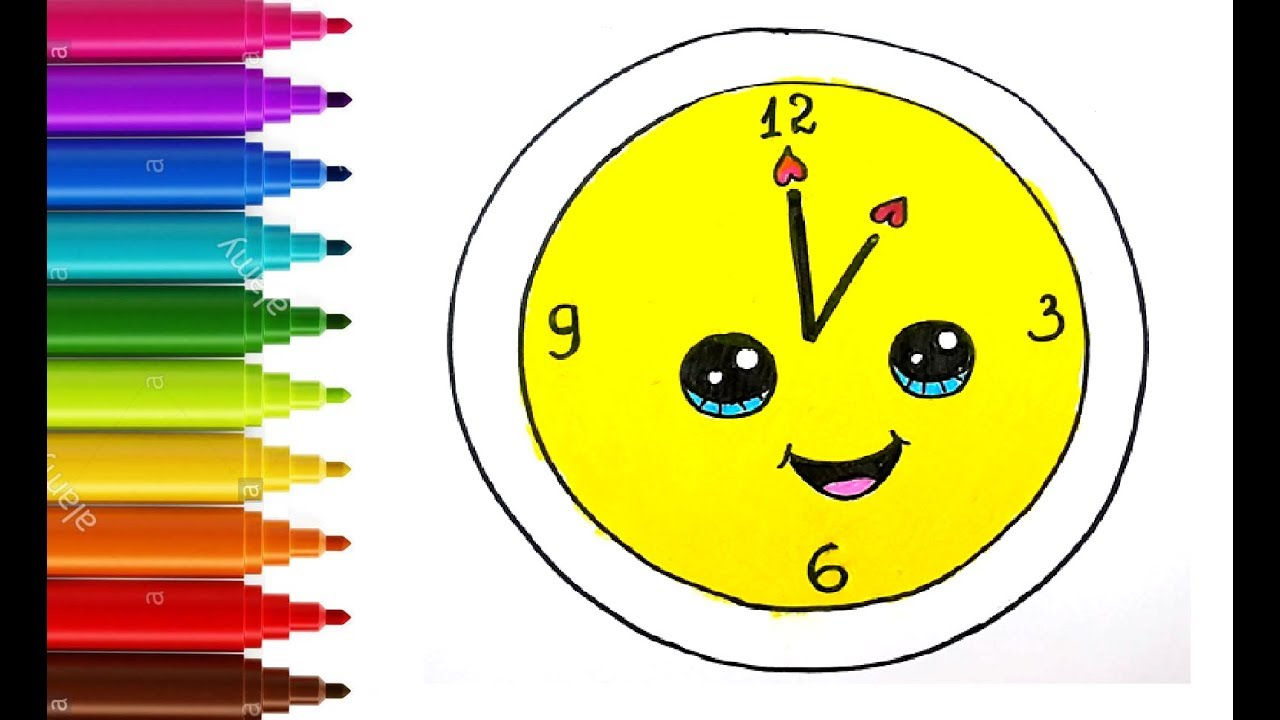 How To Draw And Color Cute Oclock For Kids Youtube