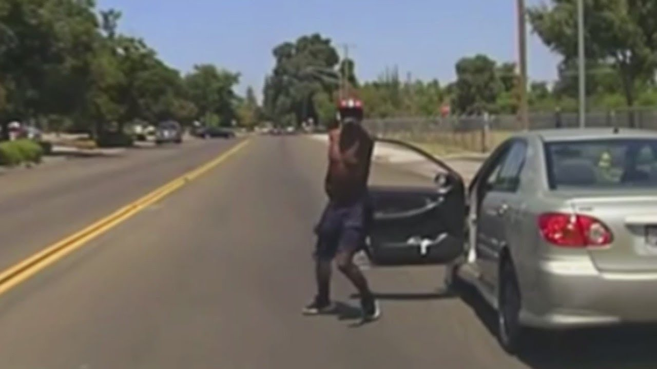 Caught on dash cam: man leads Madera police officer on stolen car chase, charges him