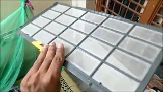 Hitachi AC - How to clean Hitachi AC Filter (indoor unit) in 3 min