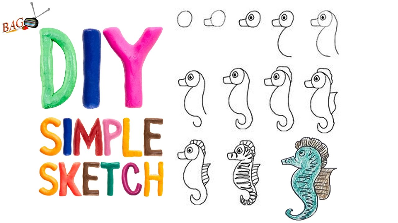 How to draw seahorse cartoon step by step guide youtube for How to draw a simple seahorse