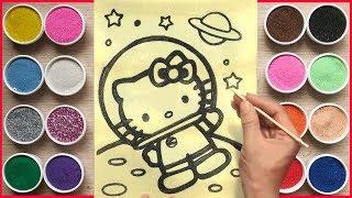 Đồ chơi trẻ em,VẼ & TÔ MÀU TRANH CÁT HELLO KITTY BAY VŨ TRỤ -Colored sand painting Kitty (Chim Xinh)