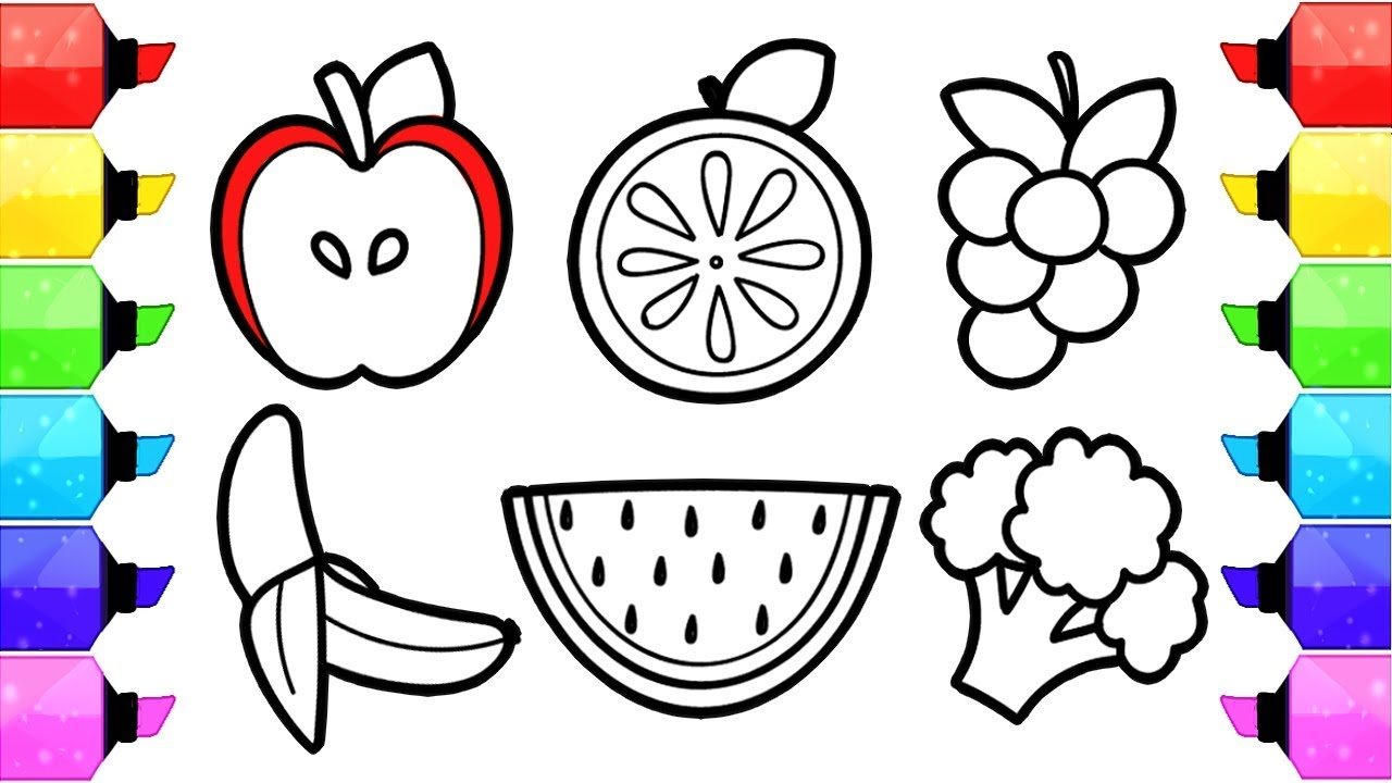 Fruits and vegetables coloring pages how to draw and color fruits and vegetable coloring book