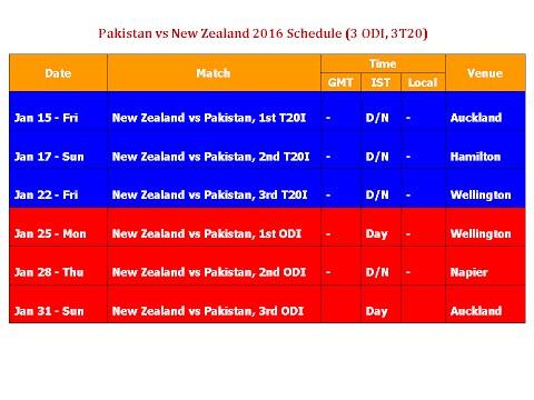 Pakistan Vs New Zealand 2016 Schedule & Time Table (3 ODI, 3T20)
