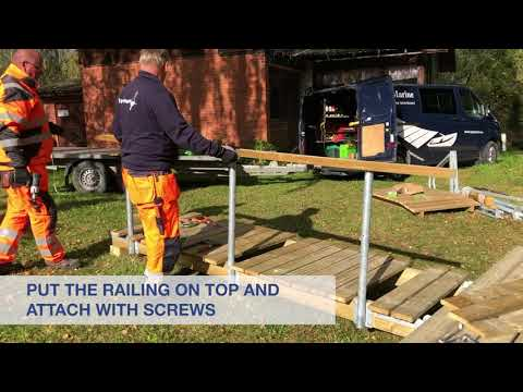 How to install the railing to Top Marine floating bridge.