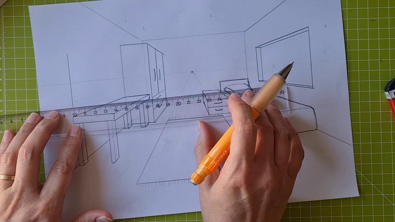 Perspektif oda içi çizim (tek nokta)   One Point Perspective Room