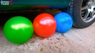 Balloons vs Car - EXPERIMENT    Crushing Crunchy & Soft Things by Car!