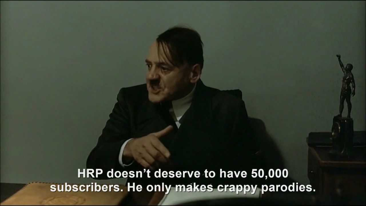 Hitler is informed Hitler Rants Parodies has 45,000 subscribers