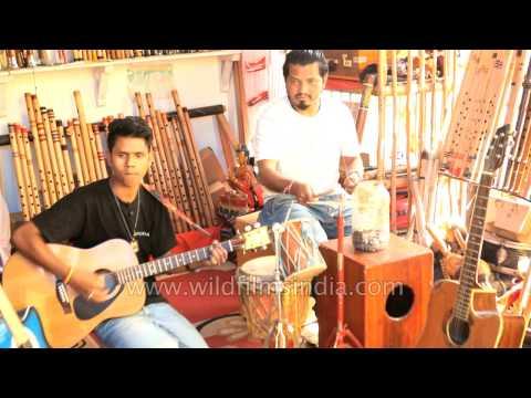 Musical instrument shop of Nepali brothers at Bhagsunag, Himachal