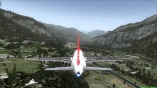 Edelweiss A320 landing at Meiringen Switzerland [FSX]