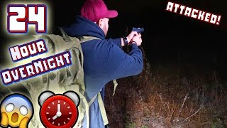 (ATTACKED) 24 HOUR OVERNIGHT CHALLENGE COYOTE INFESTED ABANDONED GOLF COURSE! // GUNS PULLED! ⏰