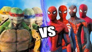 TEENAGE MUTANT NINJA TURTLES vs TEAM SPIDER-MAN - Epic battle