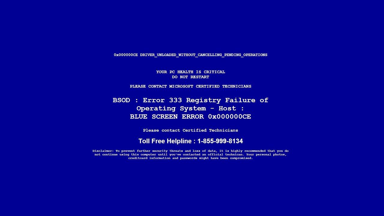 Fake virus error 333 registry failure - YouTube