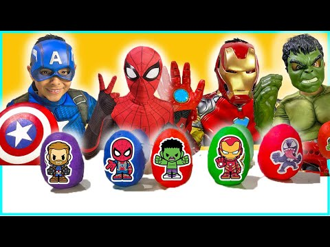 New Avengers Toys Play-doh Surprise eggs iron man spider-man kids video