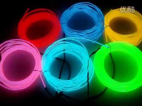 Lemon Red Yellow Green White Blue Purple Pink 3M Flexible Neon Light EL  Wire Glowing Rope Tube   YouTube