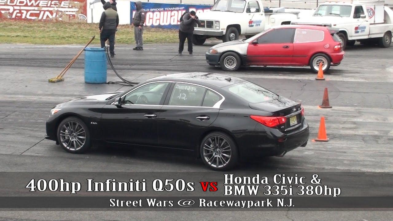 400hp Infiniti Q50s vs Honda civic vs BMW 335i