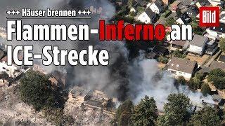 Mindestens 12 Verletzte: Riesiger Brand an ICE-Strecke in Siegburg