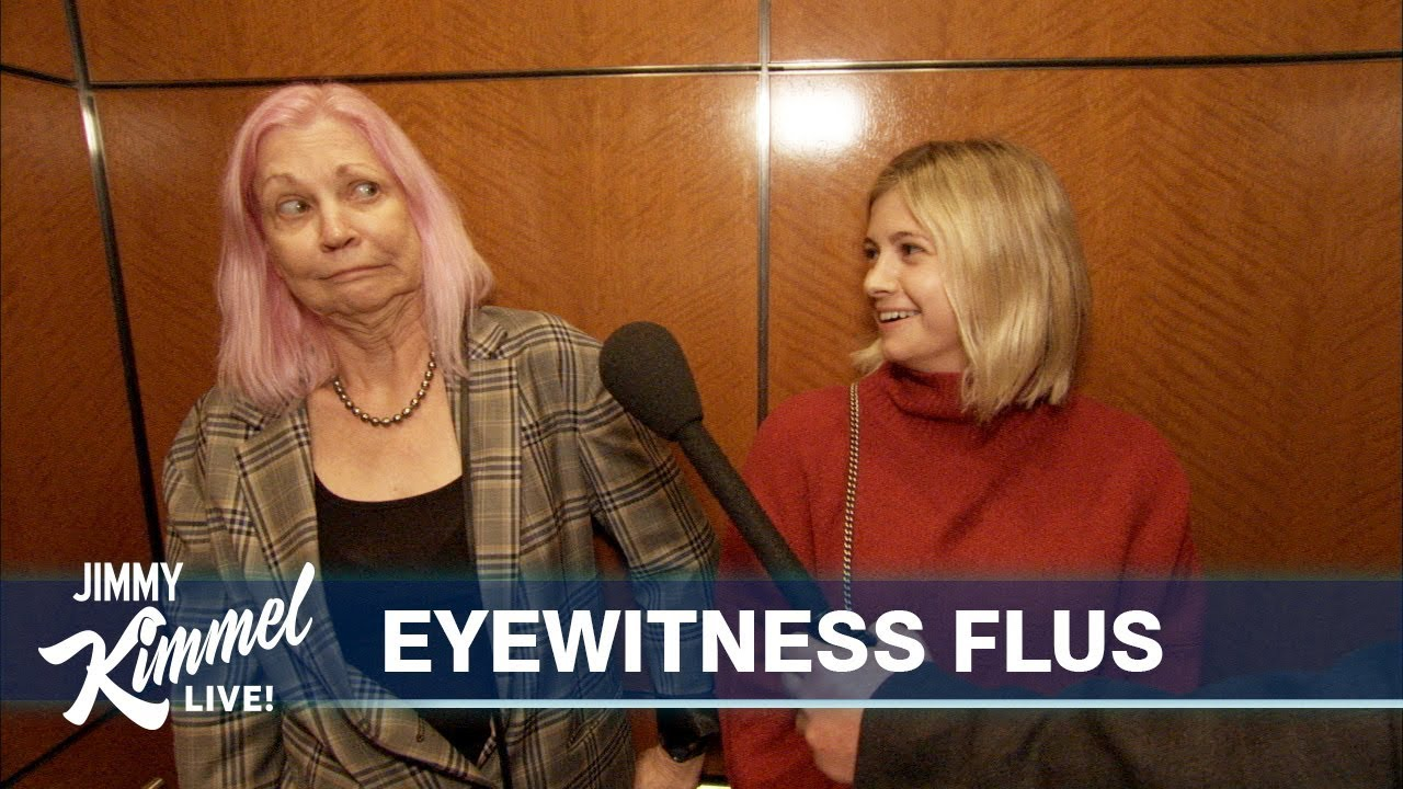 Sick Reporter Interviews People in an Elevator