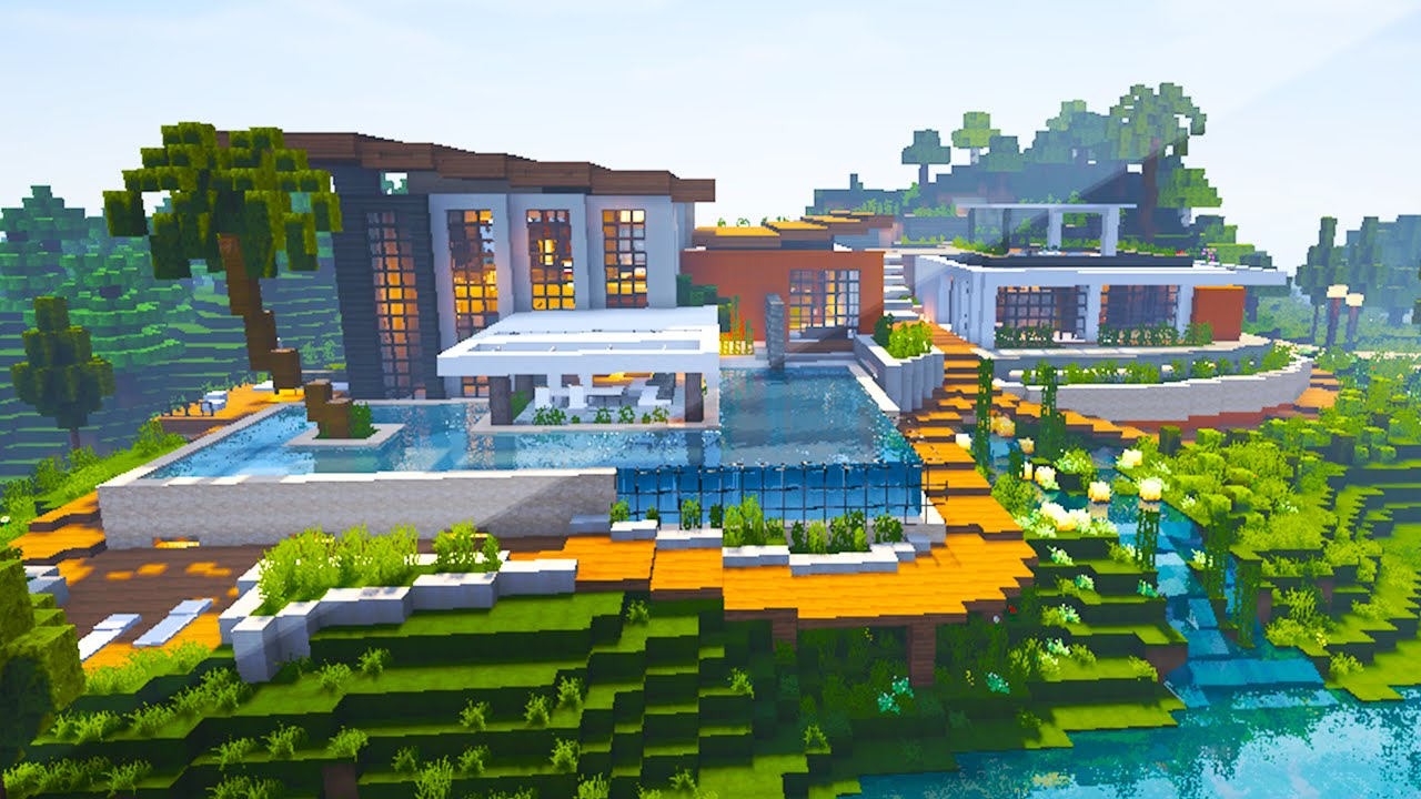 Minecraft maps riverside modern house youtube for Modern house map