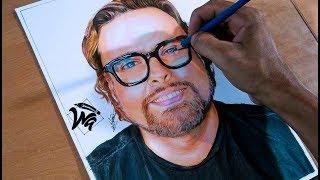Dibujó Realista Con Colores Escolares Kores - El George Harris -  Retrato Youtub
