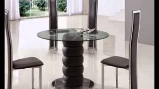 Black, Clear Round Glass Dining Table And Chairs