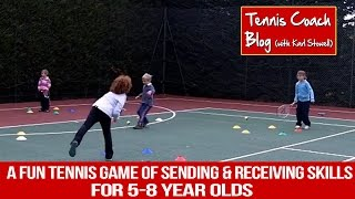 Fun kids tennis game for sending & receiving skills (5-7 years / Red)