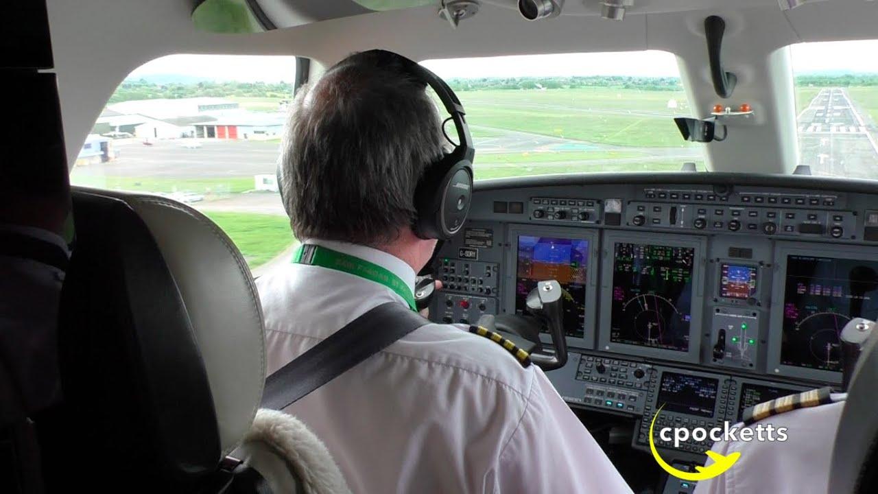 Cessna Citation CJ4 G-SDRY **Cockpit/flight deck Landing ...