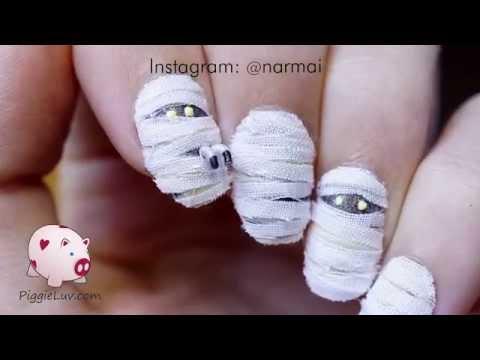 3D mummy nail art tutorial for Halloween