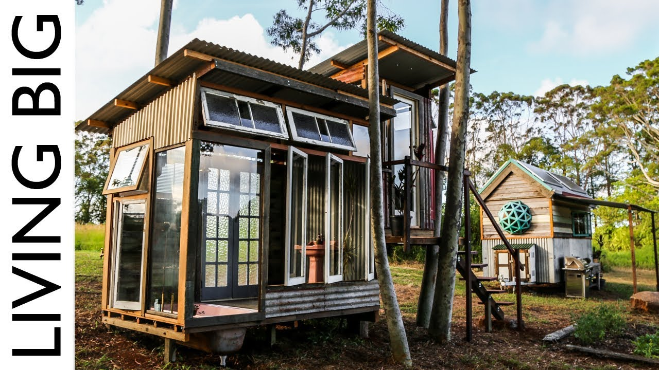 Tiny Home With Luxury Bath House Made From Recycled Windows Youtube