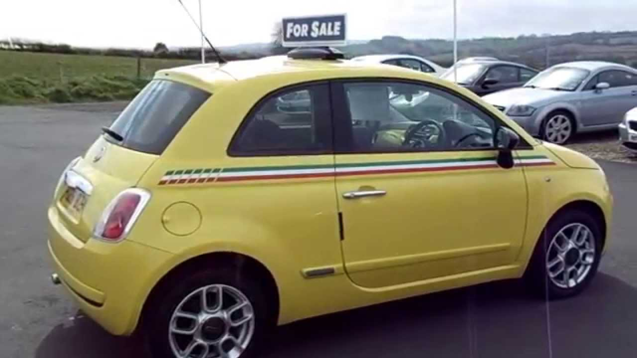 Fiat 500 1.2 Pop Yellow With Italian Stripes For Sale - YouTube