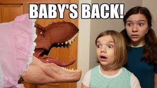 The baby T-Rex dinosaur that Jillian and Addie hatched from an egg ...