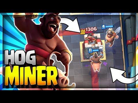 SUPER FAST 3.0 CYCLE HOG MINER!! Ultimate Pressure Deck!! Clash Royale Hog Rider Miner Strategy