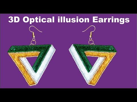DIY 3D optical illusion earrings | How to make illusion earrings at home