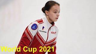 Анна Щербакова Короткая программа ЧИСТО с Двумя каскадами на тренировке Чемпионата мира 2021
