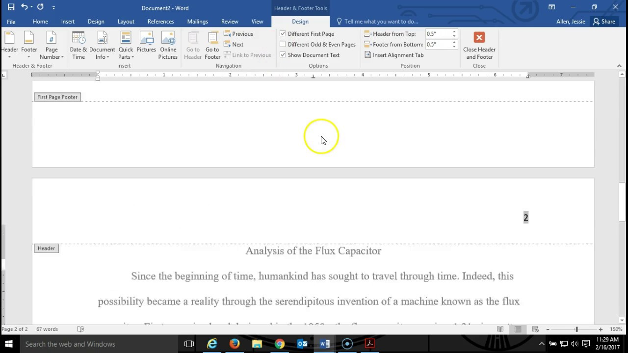 How to Make a Running Head in APA Style with MS Word