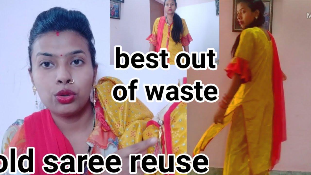 पुरानी साड़ी से डिज़ाइनर पलाज़ो सूट||old saree reuse ||designer suit from old saree in hindi