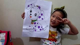 Gia Linh Làm Bài Tập Cô Giao Phần 2 - Vẽ Và Tô Màu Con vật mà Em Yêu Thích