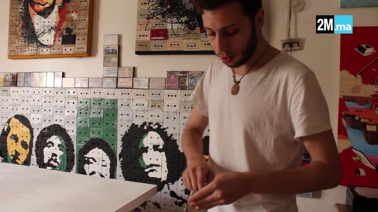 """يونس الميلودي فنان شاب يحول """"الكاسيط"""" إلى بورتريهات لشخصيات معروفة...فيديو"""
