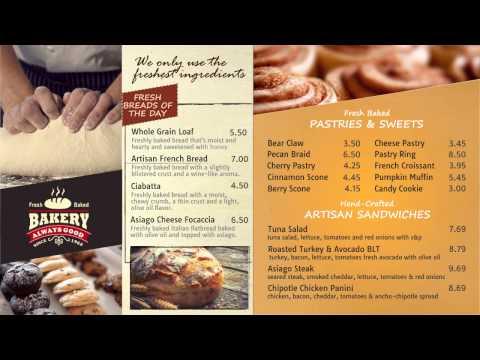 Digital Menu Design Sample - Bakery