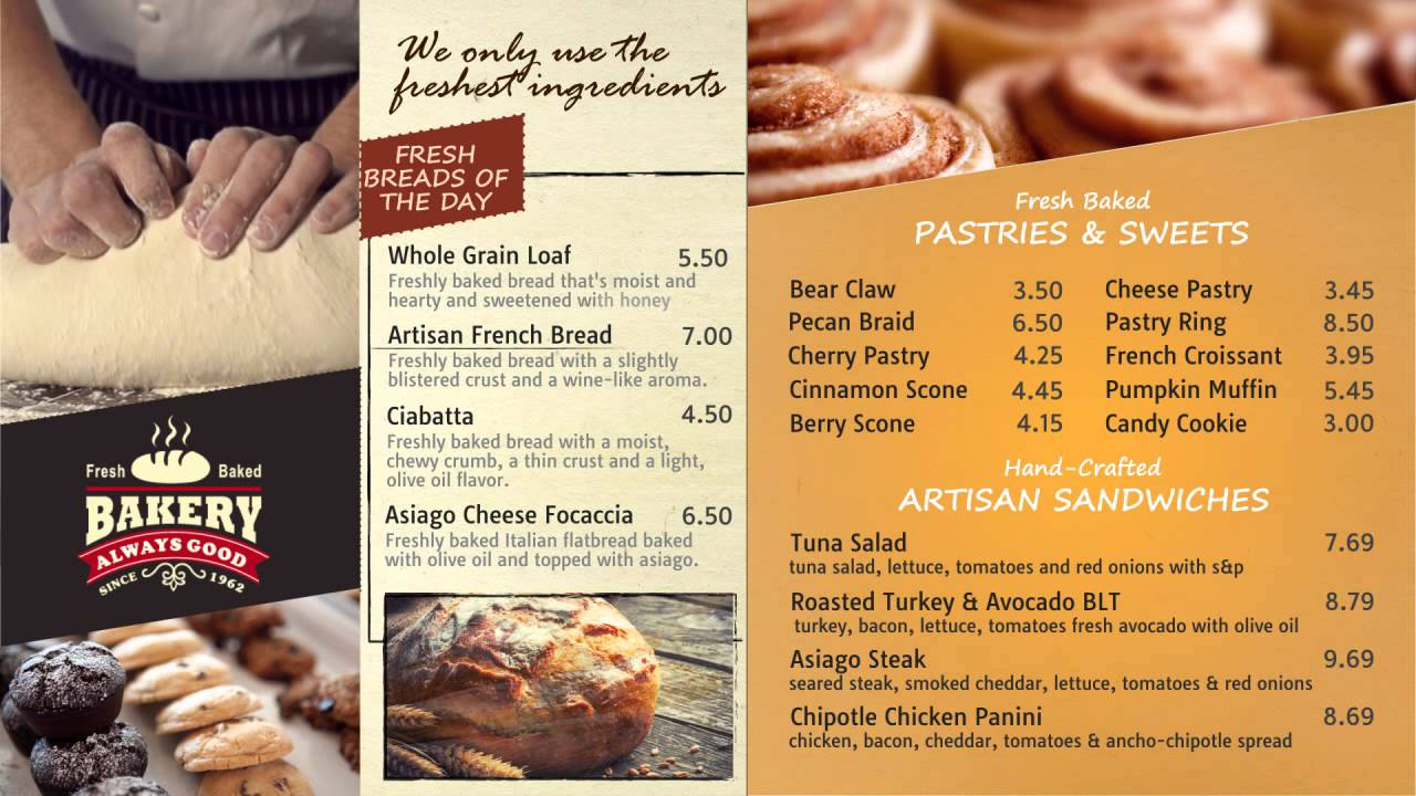 Digital Menu Design Sample - Bakery - YouTube