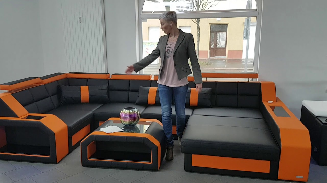 Sofa Berlin Design Sofa Dreams Showroom Sofa Wohnlandschaft Arezzo In Schwarz Orange