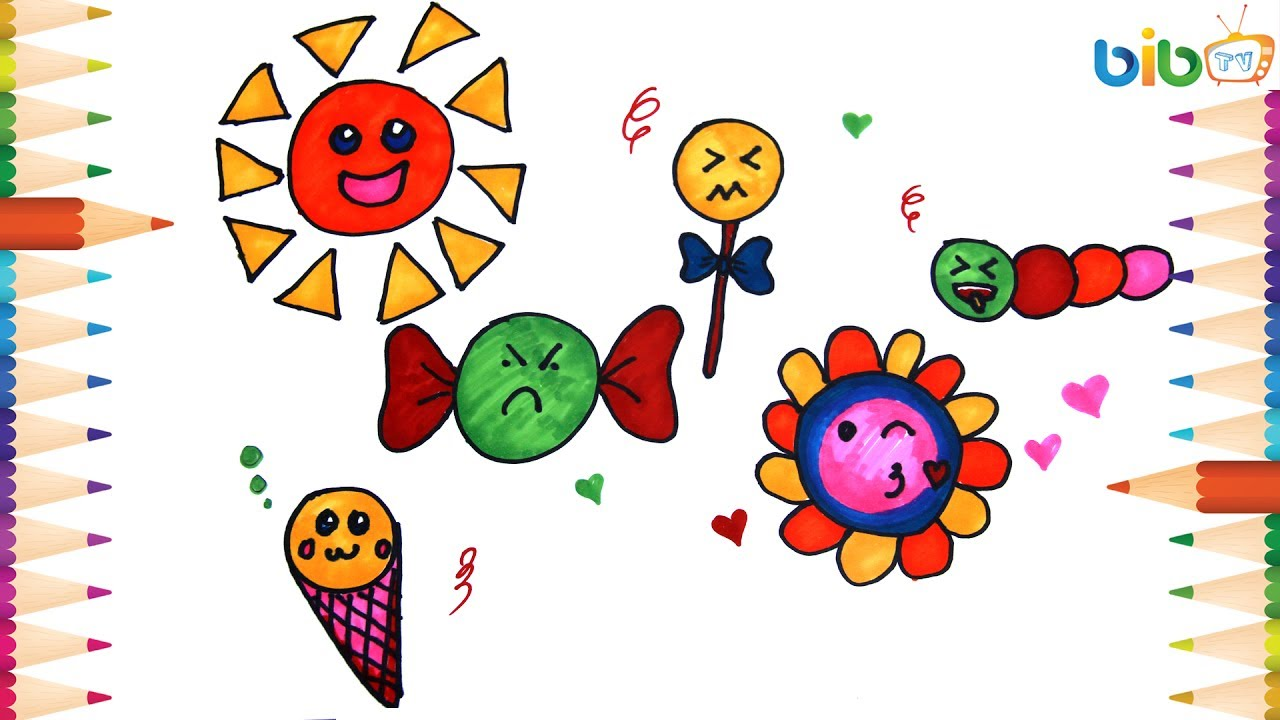 How To Draw Emoji, Facebook Smileys, Ice Cream, Flower, Candy Candy For