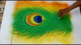 easy way to make rangoli design of morpankh