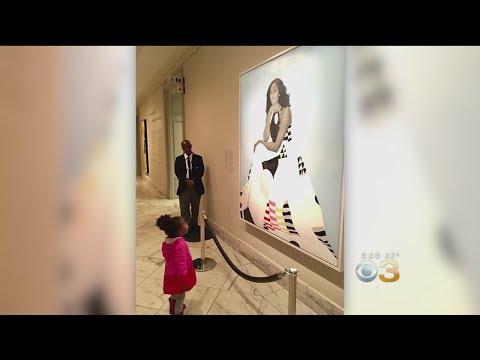 Little Girl Awestruck By Michelle Obama's Portrait